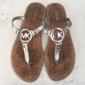 Micheal Kors Silver Gray thong sandal cork flat